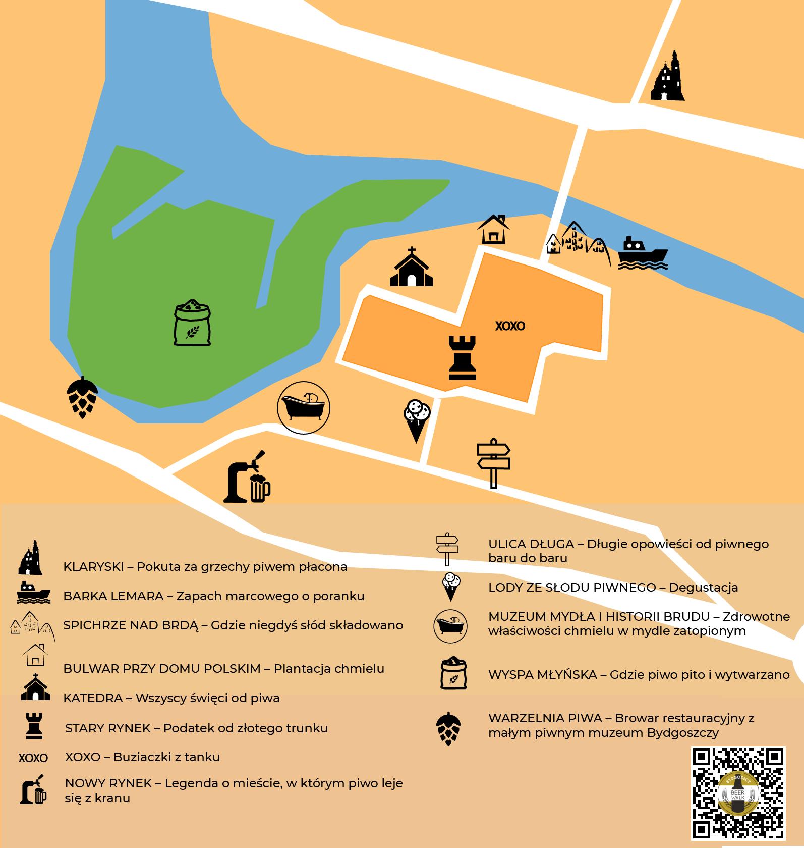 Mapa Bydgoski Szlak Piwny