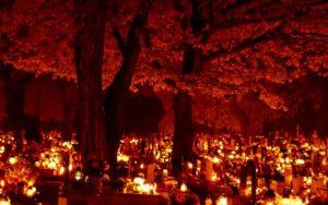 Cmentarz wieczorną porą w Uroczystość Wszystkich Świętych