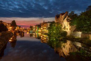 Wenecja w Opolu - wieczorna iluminacja